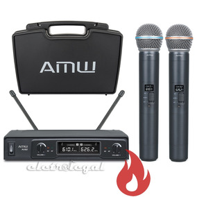 Microfone Sem Fio Duplo De Mão Uhf Amw Au62 C/ Estojo . Loja