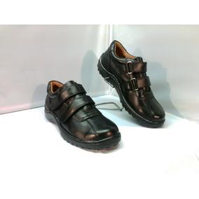 Zapatos Escolar Cuero Con Velcrom