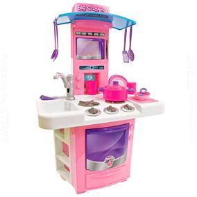 Brincando De Casinha Big Cozinha Rosa 68cm Pia Fogão Bigstar