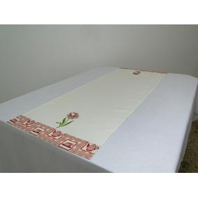 Trilho P/mesa Flower 45x97cm Marfim/bule Vermelho C/fuxico