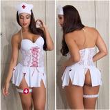Espartilho Enfermeira Médica Vestido Saia Bojo Lingerie Sexy