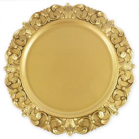 Sousplat Dourado Com Glitter Det. Borda 35.3 Cm