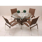 Conjunto De Mesa 4 Cadeira Jardim Varanda Fibra Sintética