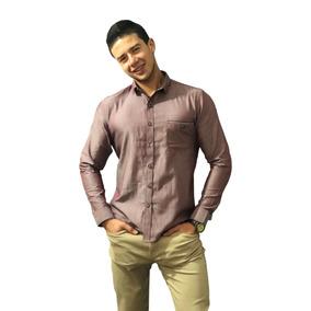 Camisa Slim Fit Para Caballero Lisa Vino - Peaceful Clothing