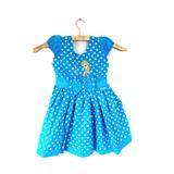 Vestido Criança Poá Bolinha Elza Frozen Azul Festa - Lindo