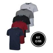 Conjunto 05 Camisetas Malha Pontilhada E Logo  Metalizado
