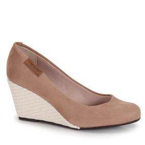 Sapato Anabela Feminino Moleca - Bege