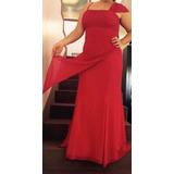 Importante Y Sobrio Vestido De Fiesta Rojo Con Un Solo Hombr