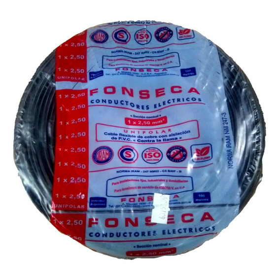 Cable Fonseca Unipolar 2,5 Mm Negro X 50m Por E631