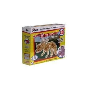 Rompecabezas 3d De Madera Pequeno Increible Estiracosaurio