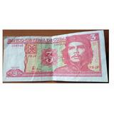 Billete De Colección Del Che Guevara De 3 Pesos Cubanos