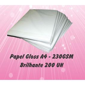 Papel Fotográfico Gloss 230g Brilhante A4 (200 Folhas)