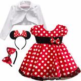 Vestido Festa Luxo Minnie Vermelha 1 Ao 4 Anos Bolero Tiaras