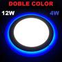 Lampara Led Panel 12w+4w Doble Color Blanco Y Azul Empotrar
