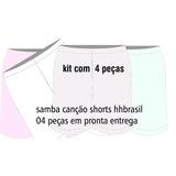 Kit 04 Unidades Samba Canção Shorts Em Estoque Estampas