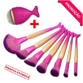 Pincel Maquiagem Pinceis Sereia Peixe Kit C/ 8 Base Contorno