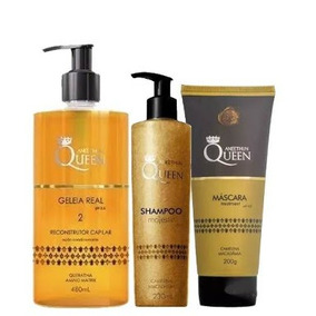 Shampoo Queen 230ml + Máscara 200ml + Geleia Kit Aneethun