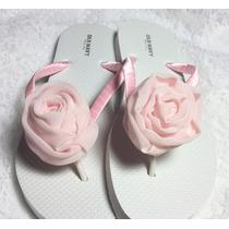 Sandalias Para Xv Años, Boda, Jardín O Playa Con Rosa Chifon