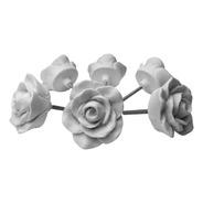 Puxador De Gaveta Flor Rosa Botão Branco Kit C/ 8 Unid 4 Cm