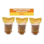 Kit 3 Ceras Depilatória Egipcia Elástica Anestésica Mel 500g