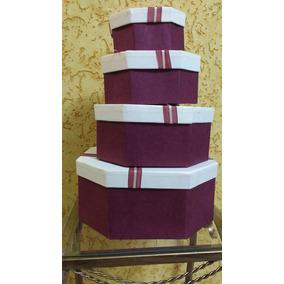 Kit 4 Caixas Presente Oitavada Papelão Vinho