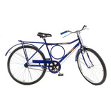 Bicicleta Tipo Barra Forte Aro 26 Azul Bagageiro Para-lamas