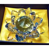 Flor De Lotus 14 Cm Em Cristal De Vidro Na Cor Azul Grande