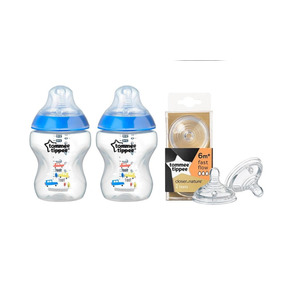 Combo 2 Mamadeira Tommee Tippee + Pack Bicos 6m+ (azul)