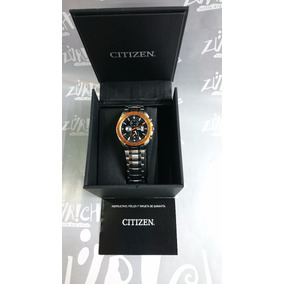 Reloj Citizen Caballero Chrono Acero Inox Bisel Naranja