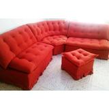 Juego De Muebles Modulares De Tela Rojo Impecable. 4 Piezas