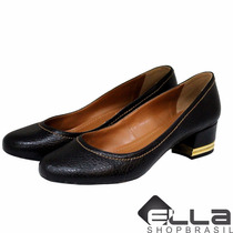 Sapato Feminino Scarpin Couro Bico Redondo Salto Bloco Lindo