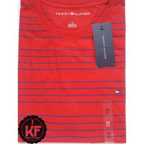 Camiseta Básica Gola Redonda Listra Tommy Hilfiger Original
