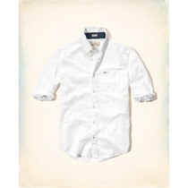 Hollister Camisa De Poplin Blanca Talla Xl Originales