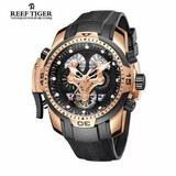 Reloj Suizo Original Reef Tiger Cronografo Corazon Abierto