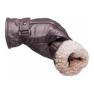 Luva Feminina Masculina Dedo Inteiro Lã Inverno Frio Couro