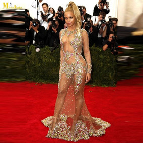 Vestido De Noite Da Celebridade De Luxo Transparente See-thr