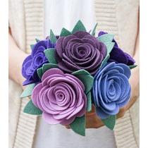 Bouquet Ramo De Novia Artificial Flores Fieltro Colores