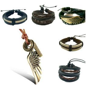 Kit 5 Pulseiras Bracelete Couro + Colar Armani Masculino Fem