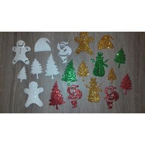 Navidad Papá Noel- Muñeco Y Copos Nieve Gomaeva Adhesiva 25u