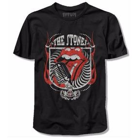 Camiseta Fatum Rolling Stones Microfone Vintage 100% Algodão