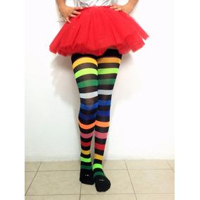 Media Calceta Lolita Rayada Arcoiris Colores Payaso #9 Envio