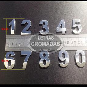 Numero Apartamento Porta Cromados 3cm Auto Colante