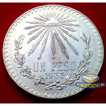 Moneda De Plata Un Peso Resplandor Año 1933