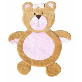 Tapete Infantil Urso Rosa Pelúcia Antialérgico 1,36m X 1,10m