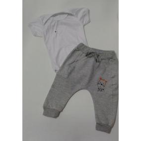 Calça Saruel Moletom Bebê + Body Tamanho M