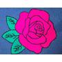 Tapete Em Lã Bordado Com Agulha Mágica - Rosa Pink