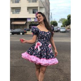 Vestido Junino Dalili Store Floral Azul Adulto Caipira Luxo