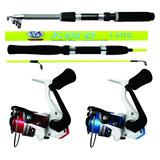Pesca Kit Com 2 Molinete + 1 Vara 1,50mt E 1 Vara 1,65 Mt