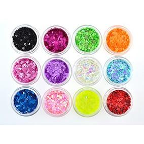 Qimisi 12 Colores Brillo Acrílico Hoja Redonda Consejos Dec