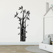 Adesivo De Parede - Bambu Planta Folhas Flores Natureza